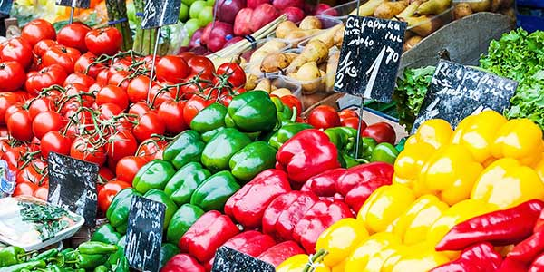 vegetables in market stall