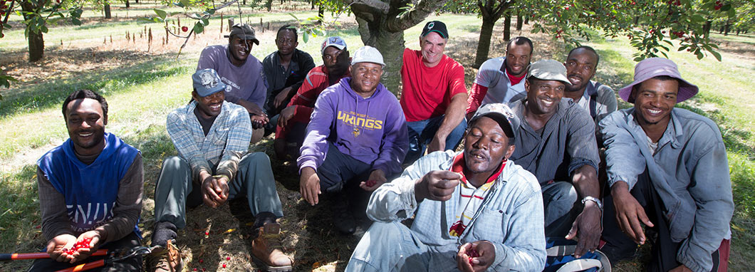 Farmer relaxes with his crew