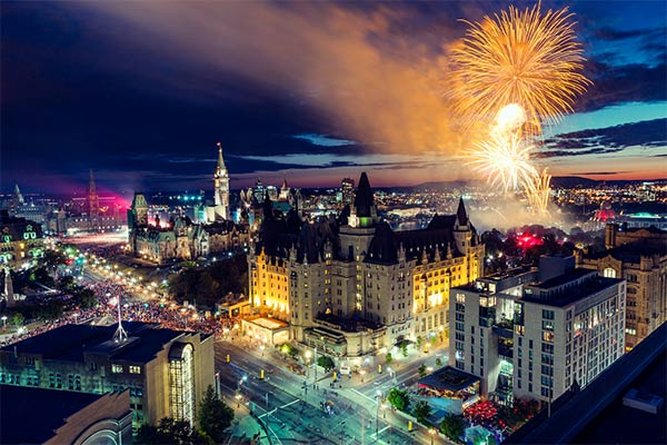 Ottawa at night with fireworks