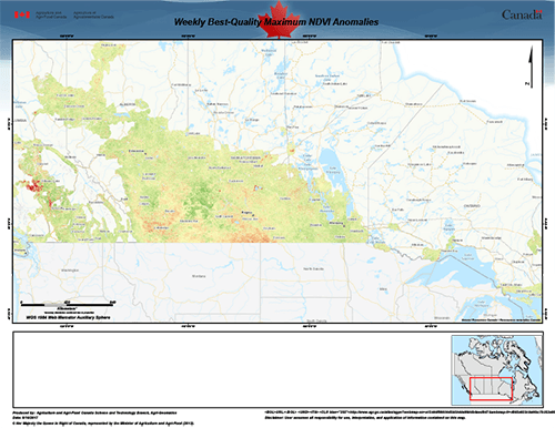 Cette carte, disponible par l'entremise du site web d'AAC (https://t.co/76R4U4FR1X), illustre la santé de la végétation comparativement à une moyenne historique. C'est l'une des douzaines de services de cartographie géospatiale fournis par AAC.