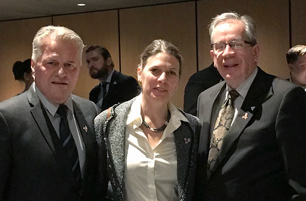 Rebecca with Ministers Jeff Leal and Laurent Lessard