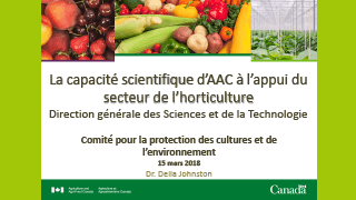 AAC - La capacite scientifique d'AAC à lappui du secteur horticulture