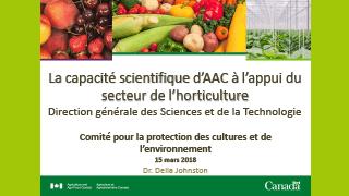 AAC - La capacite scientifique d'AAC à lappui du secteur horticulture