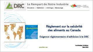 DRC - Règlement sur la salubrité des aliments au Canada