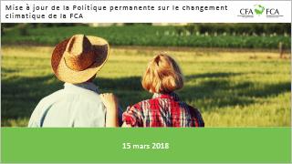 FCA - Mise à jour de la Politique permanente sur le changement climatique de la FCA