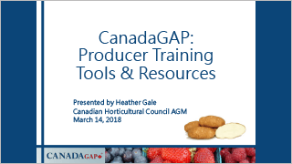CanadaGAP - Producer Training Tools & Resources