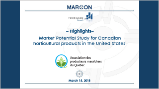 MARCON - Market Potential Study for Canadian horticultural products in the United States